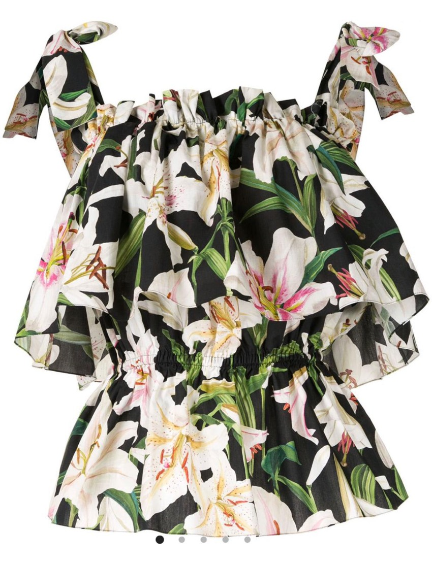 Dolce & Gabbana Lily Print Tie Shoulder Top