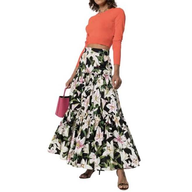 Dolce & Gabbana Lily Print Tiered Maxi Skirt