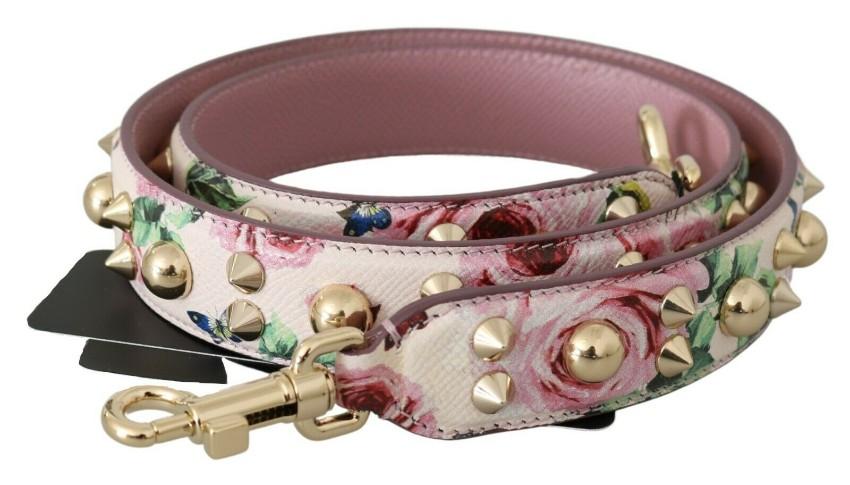 Dolce & Gabbana Studded Floral Print Saffiano Shoulder Strap