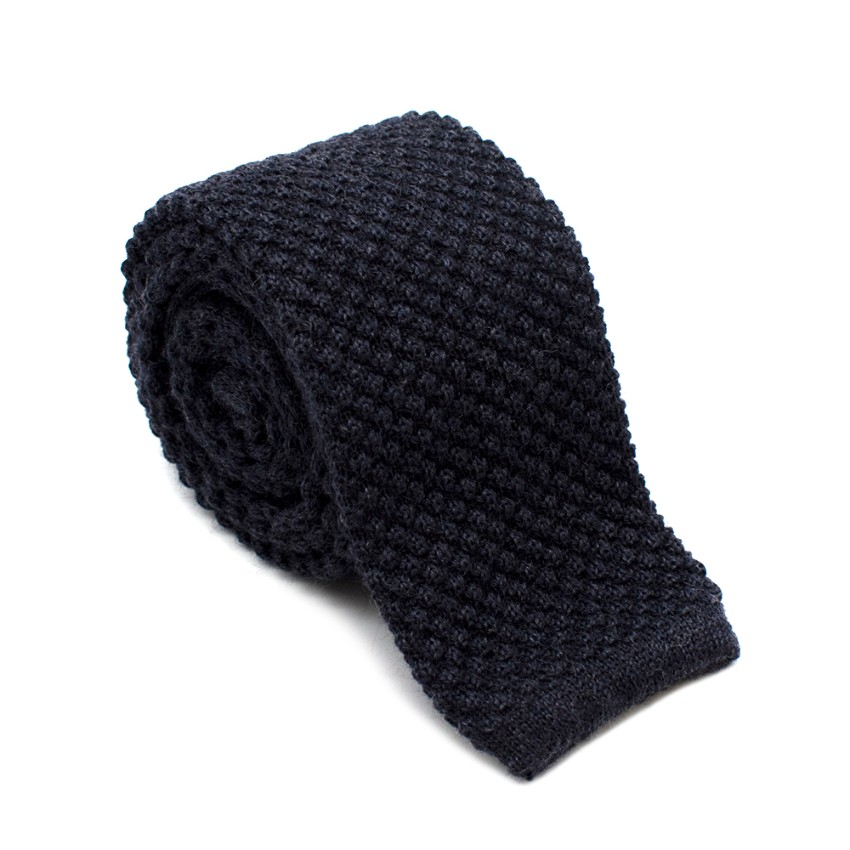 Rosi & Ghezzi Knitted Navy Square Cut Tie