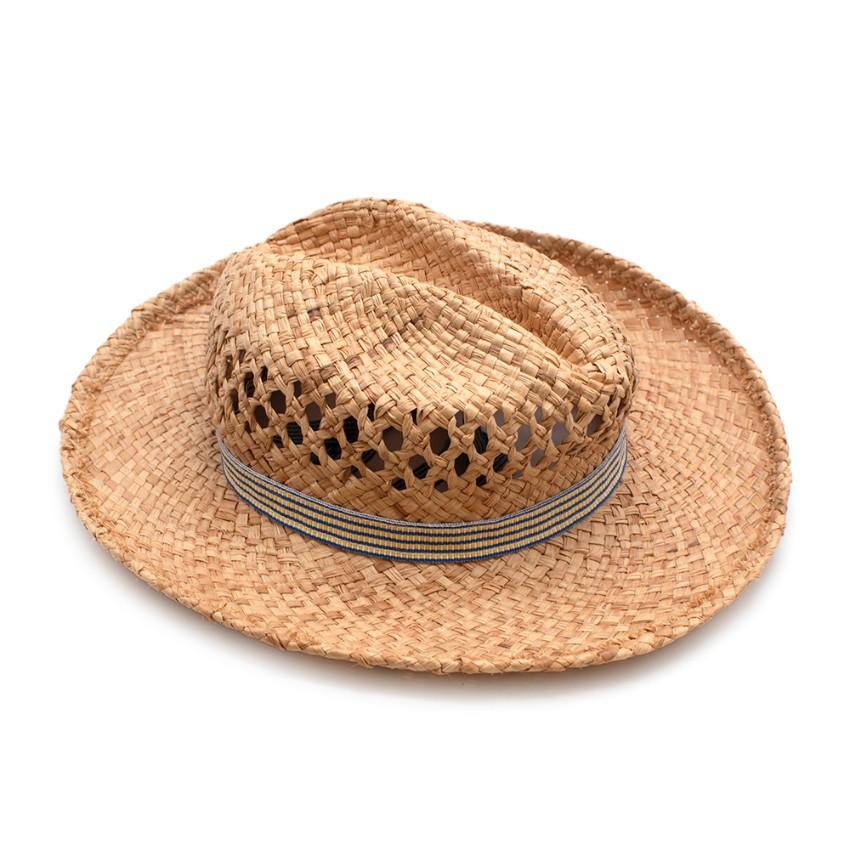 Grevi Blue & Yellow Striped Self Tie Raffia Hat - Size 52