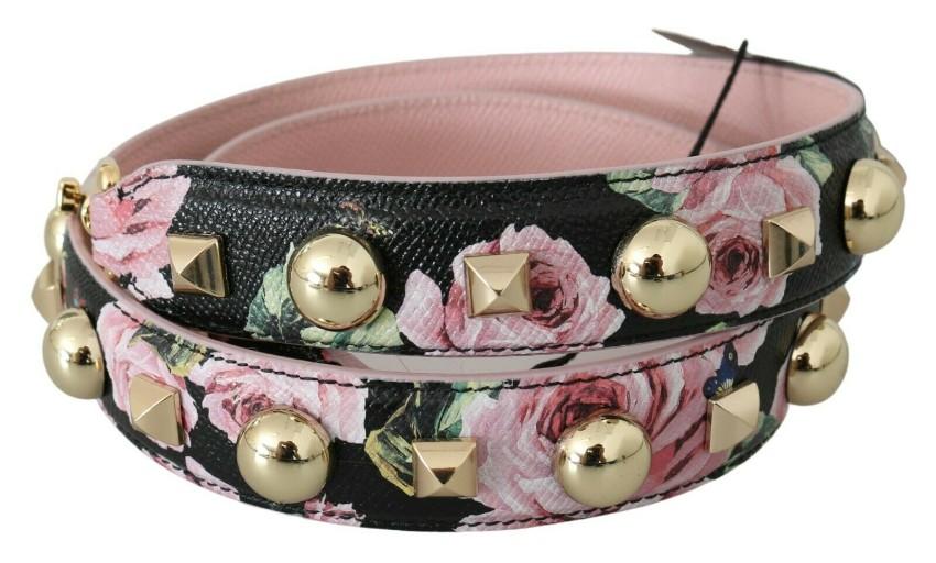 Dolce & Gabbana Black & Pink Studded Floral Shoulder Strap