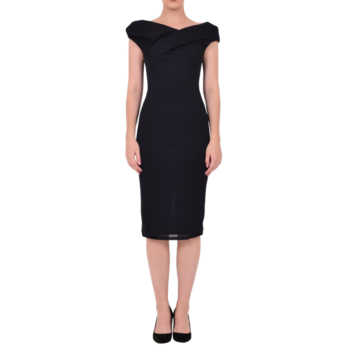Chalayan Black Fitted Draped Midi Dress