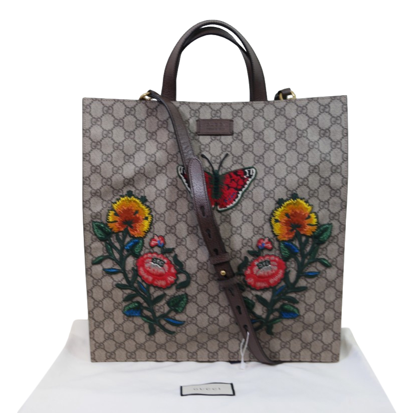 Gucci Embroidered GG Canvas Tote Bag