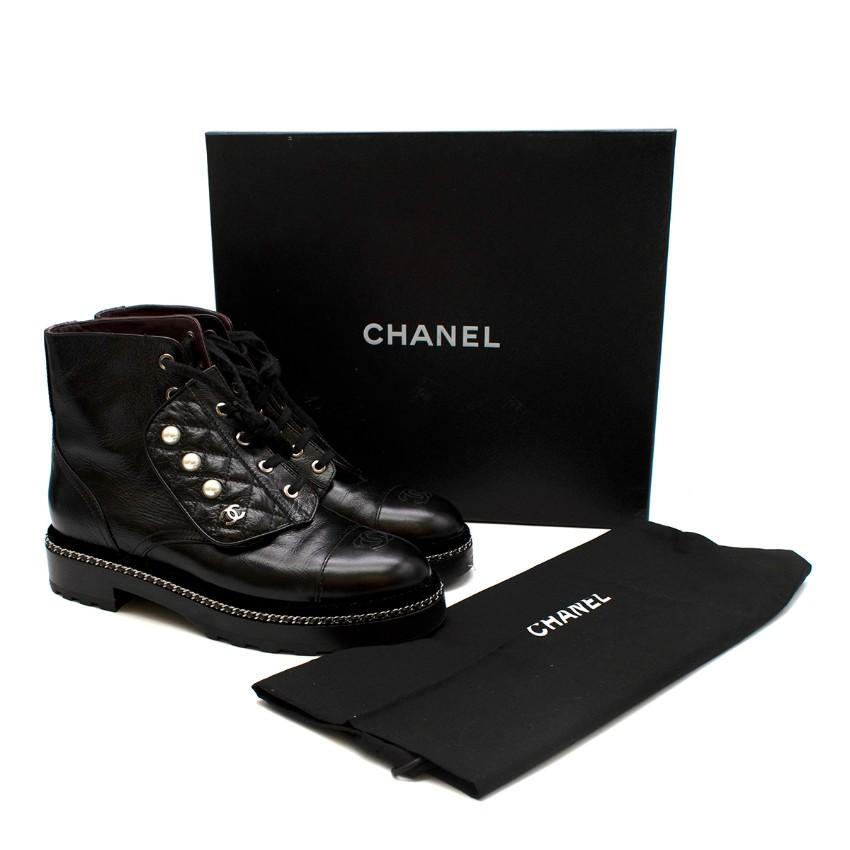 Chanel Black Leather CC Faux Pearl Detail Combat Boots