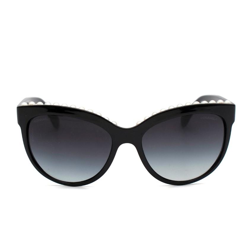 Chanel Black Faux Pearl Trim Oversized Cat-eye Sunglasses