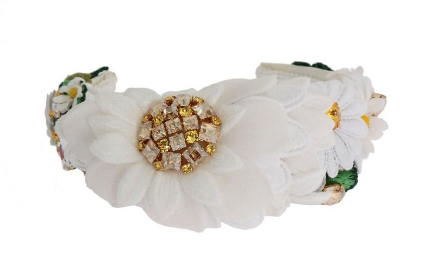 Dolce & Gabbana White Daisy Applique Headband