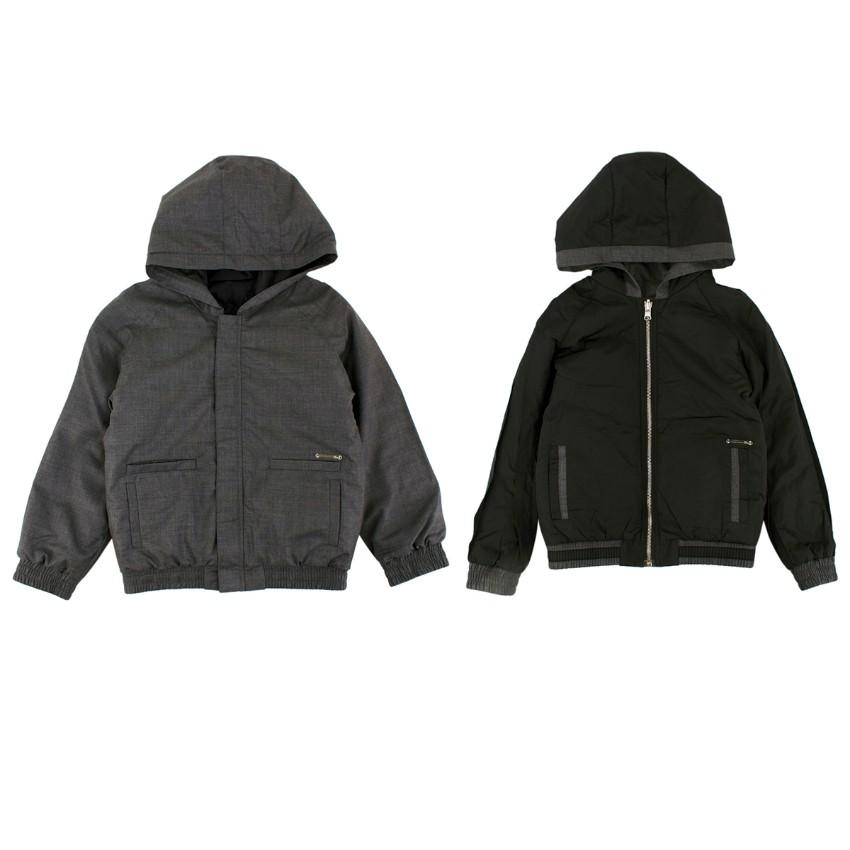Dior Grey/Black Wool & Nylon Hooded Reversible Jacket