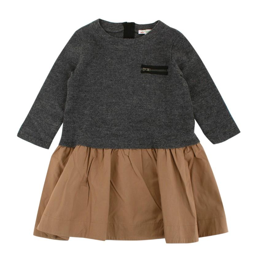 Bonpoint Two-Tone Knit/Cotton Kids 6Y Dress