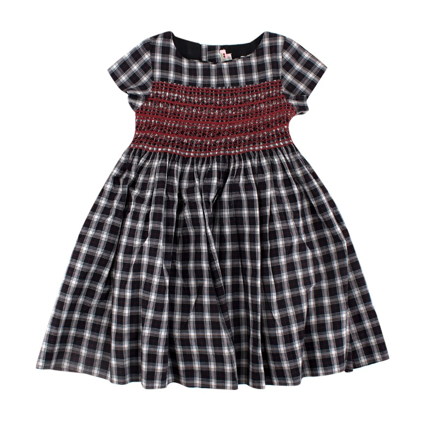 Bonpoint Navy & Red Cotton Check Smock Detail Dress