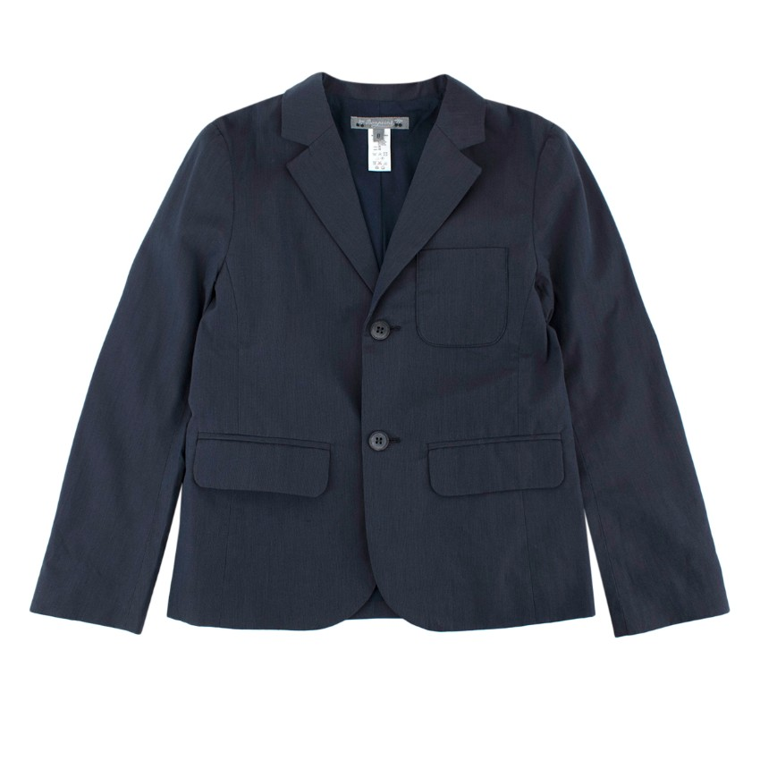 Bonpoint Kid's 8Y Navy Cotton Single Breasted Blazer