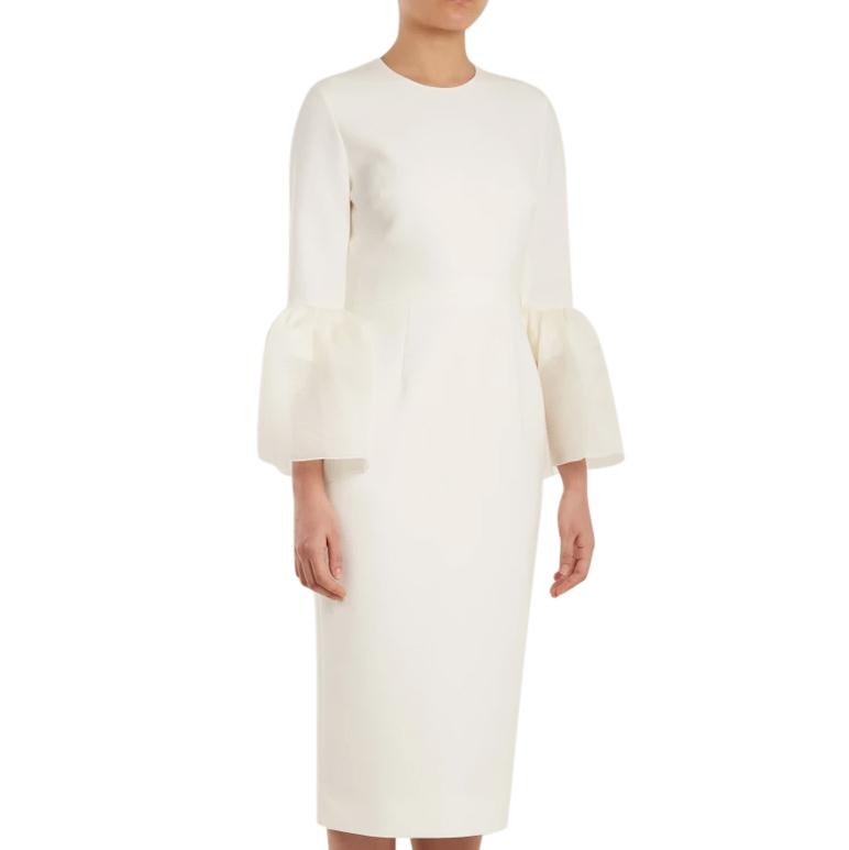 Roksanda Margot Ivory Bell-Cuff Cady Dress