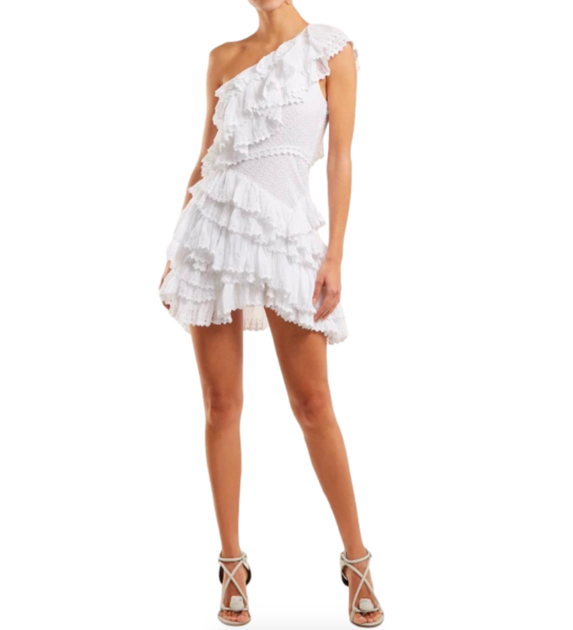 Isabel Marant white Zeller one-shoulder broderie-anglaise dress