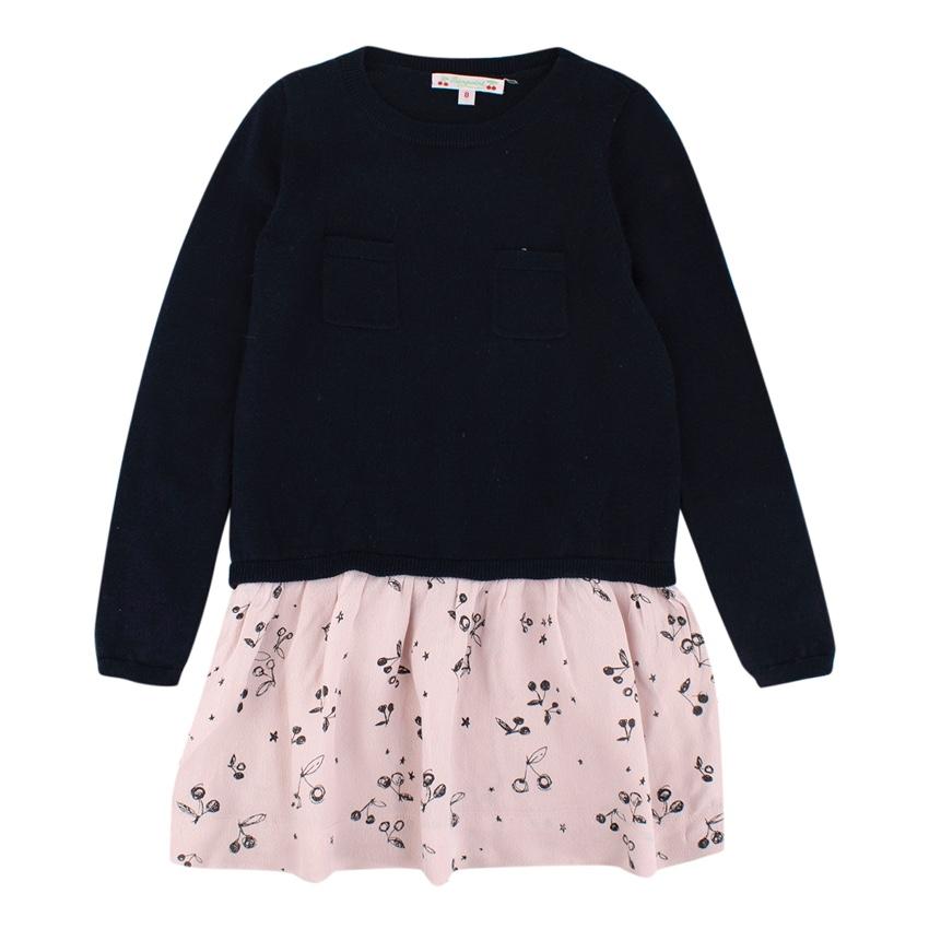 Bonpoint Kids navy & pink printed chiffon jumper dress