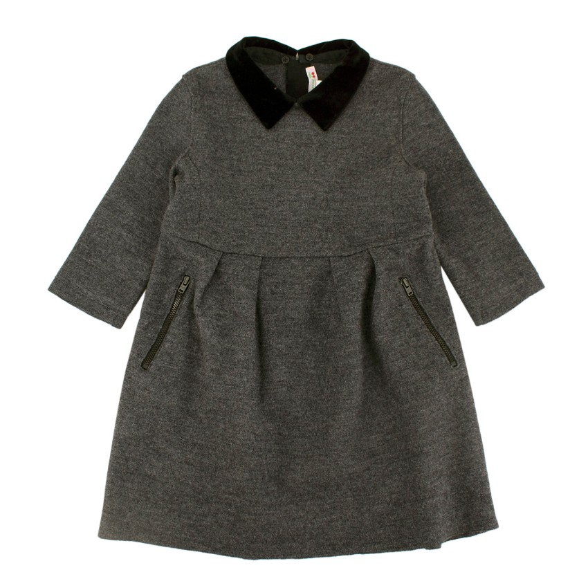 Bonpoint Grey Wool Contrasting Collar Pleated Dress