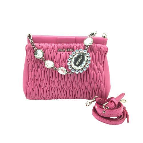 Miu Miu Pink Matelasse Shoulder Bag with Crystal Chain