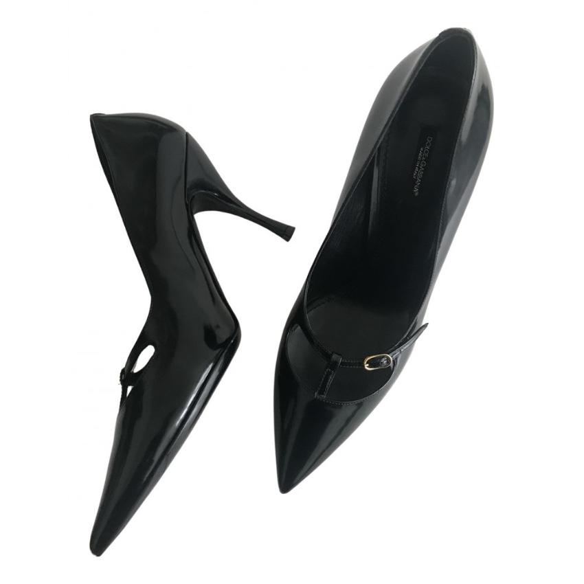 Dolce & Gabbana Black Low T-Buckle Pumps