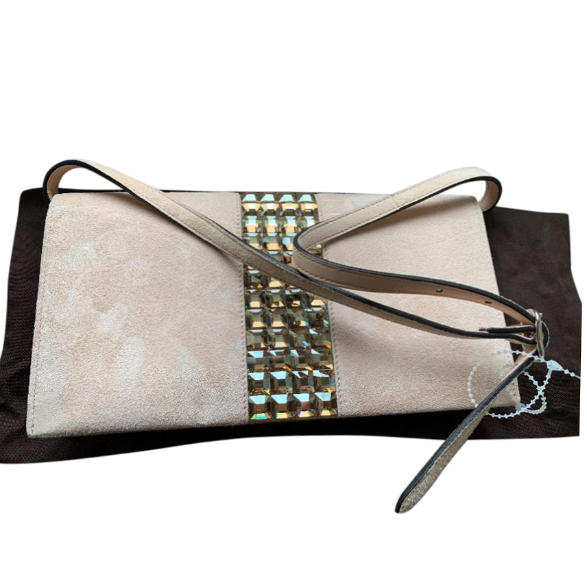 Gucci Broadway Suede Evening Clutch With Crystal Detail