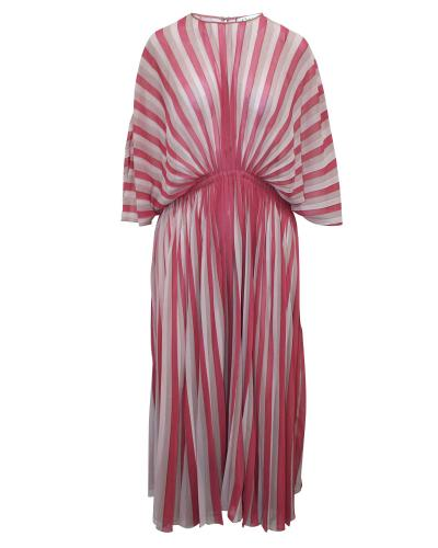 Dior Pink & White Sheer Draped Pleated Dress