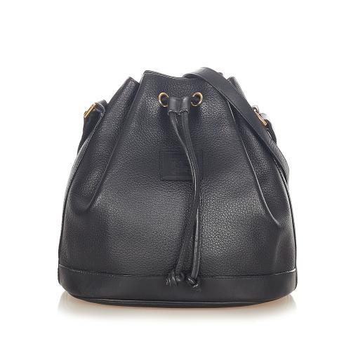 Burberrys Vintage Black Leather Bucket Bag