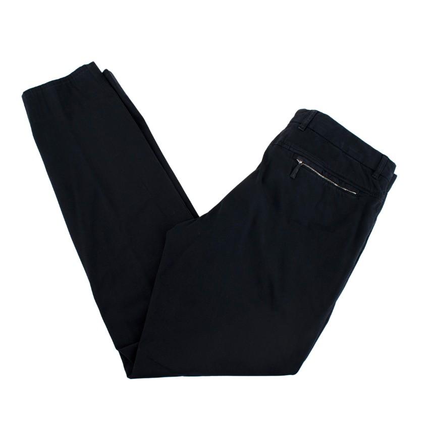 Ermenegildo Zegna Navy Cotton Blend Trousers