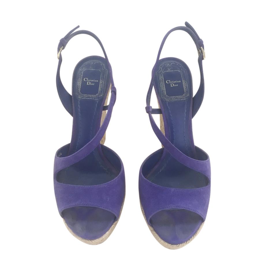 Dior Blue Suede Croisette Wedge Sandals