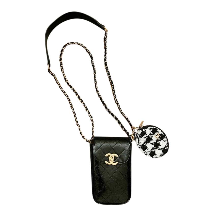 Chanel Makeup VIP Gift Black & White Tweed & PVC CC Shoulder Bag