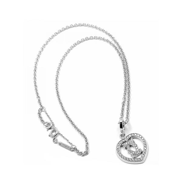 Cartier 18ct White Gold Diamond Double C Heart Pendant Necklace