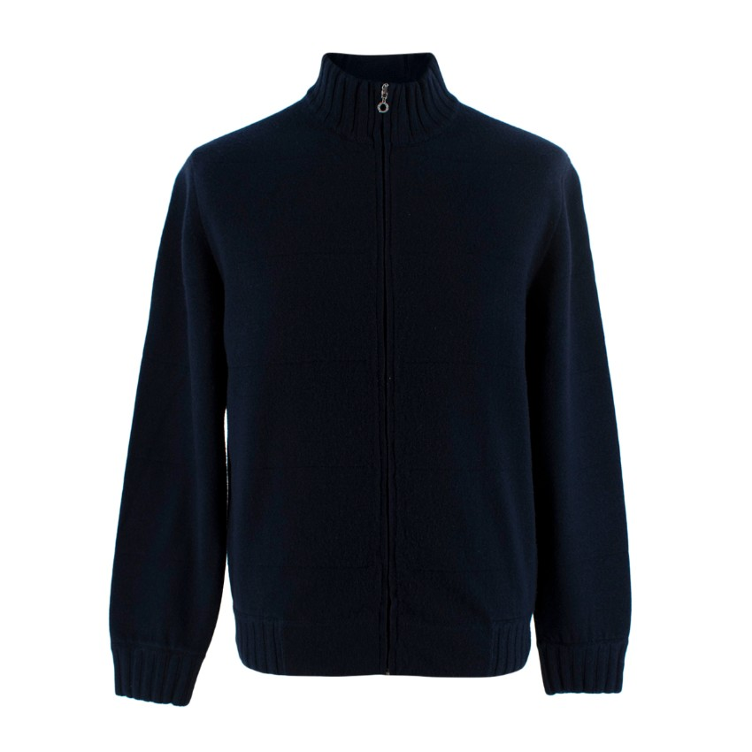 Ballantyne Cashmere Navy Zip Up Cardigan