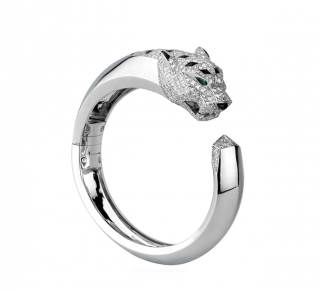 Cartier 18kt White Gold Panthere Bangle w/ Emeralds, Onyx & Diamonds