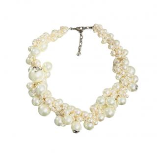 Chanel Runway Chunky Faux Pearl CC Necklace
