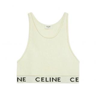 Celine Beige Runway Cropped Sports Bra