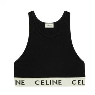 Celine Black Runway Cropped Sports Bra