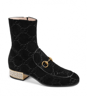 Gucci Velvet Embellished GG Ankle Boots