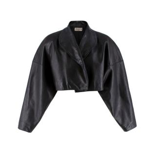 Alaia Open Front Cropped Black Vintage Leather Jacket