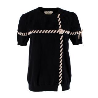 Fendi Black Ribbed Knit Braided Sweater