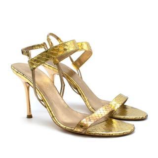 Celine Gold Snakeskin Vintage Strappy Sandals