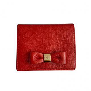 Mulberry Red Grained Leather Bow Purse