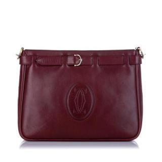 Cartier Must De Cartier Bordeaux Leather Clutch Bag