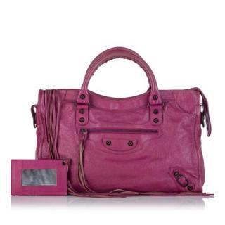Balenciaga Pink Leather Motocross City Bag