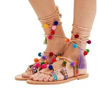 Mabu by Maria Bk Leather Lace Up Embellished Multicolour Sandals