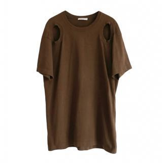 Celine by Phoebe Khaki Cut-Out T-Shirt