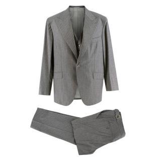 Donato Liguori Grey Striped Wool Three Piece Suit