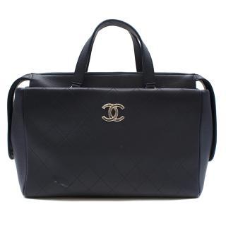 Chanel Blue Lambskin & Caviar Calfskin CC Top Handle Shopper