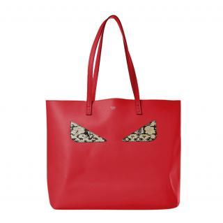 Fendi Leather & Snakeskin Monster Eyes Tote Bag Bag