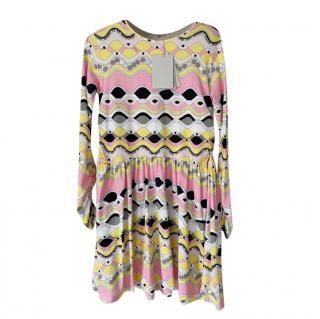 Emilio Pucci Yellow, Pink Printed Jersey Summer Dress