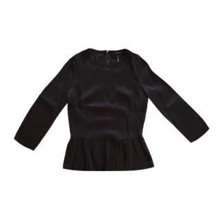 Isabel Marant Black Silk Peplum Top