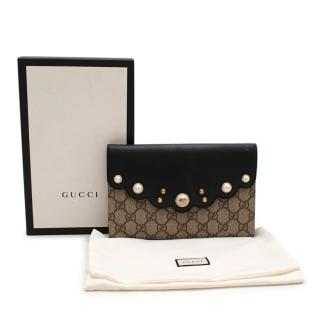 Gucci Pearl Studded Supreme Canvas & Leather Peony Clutch