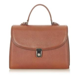 Burberrys Vintage Brown Leather Handbag
