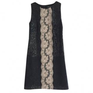 Dolce & Gabbana Black & Cream Lace Sequin Shift Dress